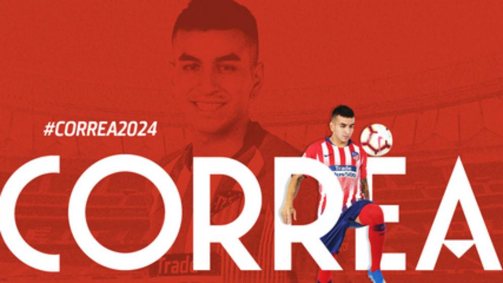 Ángel Correa renueva su contrato con el Atlético de Madrid hasta 2024. (atleticodemadrid.com)