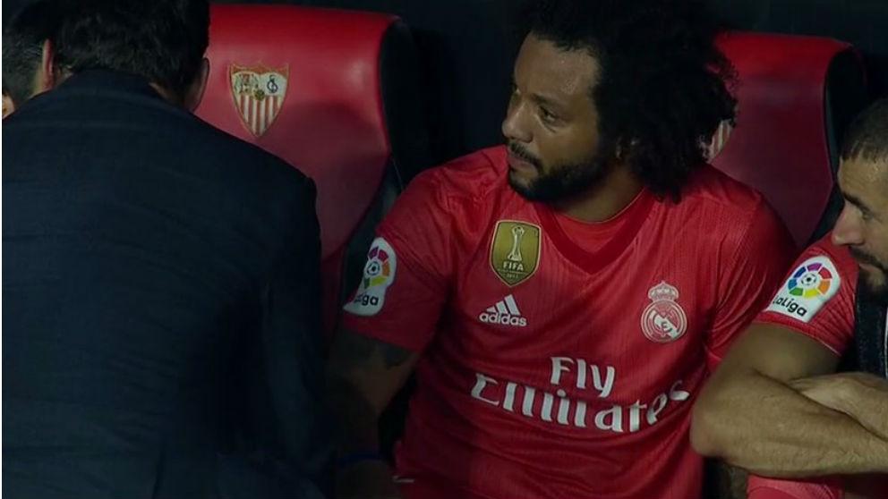 Marcelo, tras lesionarse.
