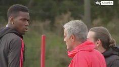 Pogba y Mourinho durante el entrenamiento.