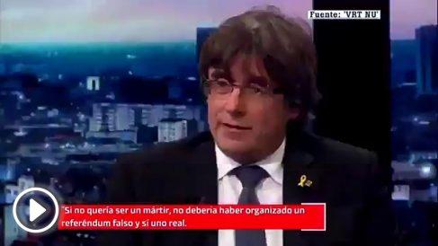 Puigdemont durante la entrevista en la televisión belga.