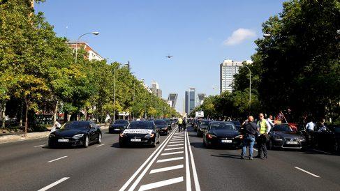 Manifestación de los VTC en el Paseo de la Castellana de Madrid. (Foto: Enrique Falcón)