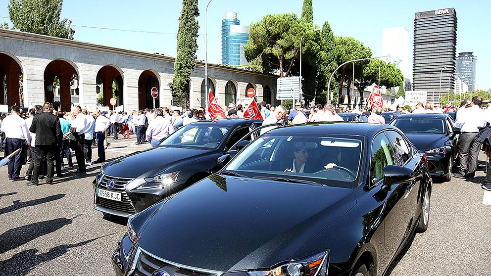 Manifestación de los VTC en el Ministerio de Trabajo. (Foto: Enrique Falcón)