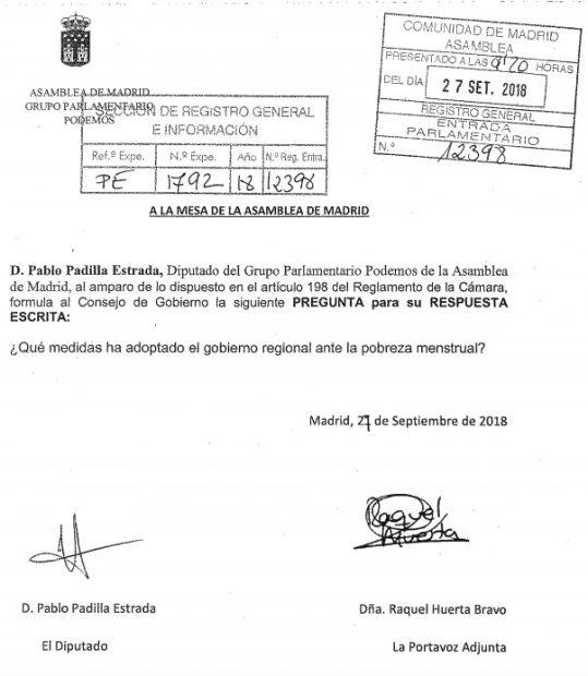 Podemos pregunta sobre la «pobreza menstrual» en la Asamblea de Madrid al Gobierno de Garrido