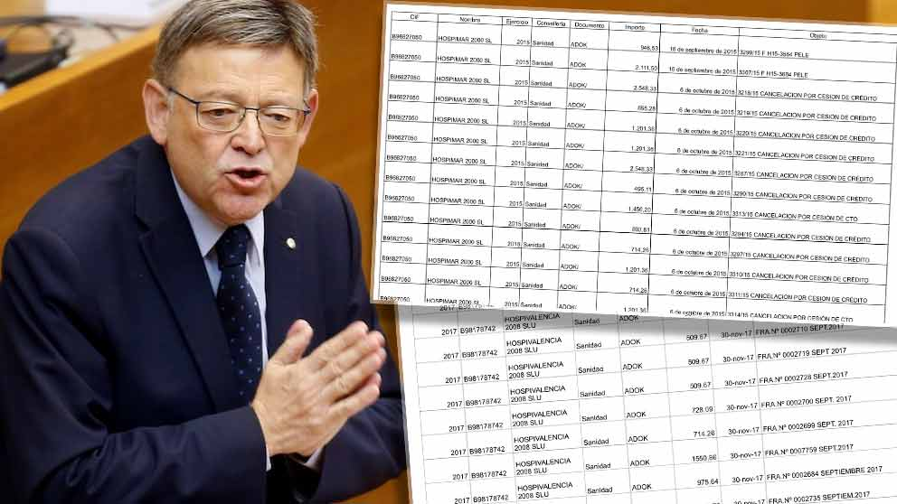 Ximo Puig y dos detalles de los pacientes derivados a Hospimar 2000