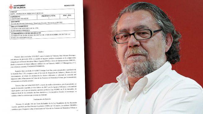 El edil de Hacienda del PSOE exime al PSOE de pagar la plusvalía por la venta de su sede en Valencia