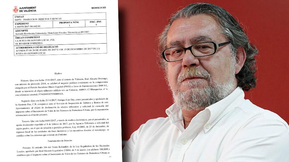 Ramón Vilar, concejal de Hacienda del PSOE en Valencia que ha eximido a su partido del pago de la plusvalía municipal por la millonaria venta de la sede.