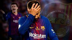 Gerard Piqué se lamenta durante un partido.
