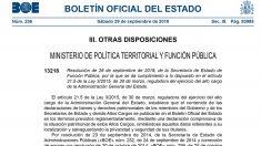 Primera página del BOE con el patrimonio de los cargos políticos.