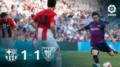 Leo Messi no llegó a tiempo para salvar al Barça.