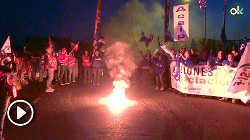 Manifestación de funcionarios de prisiones ante la cárcel de Brieva. (Foto: Okdiario)
