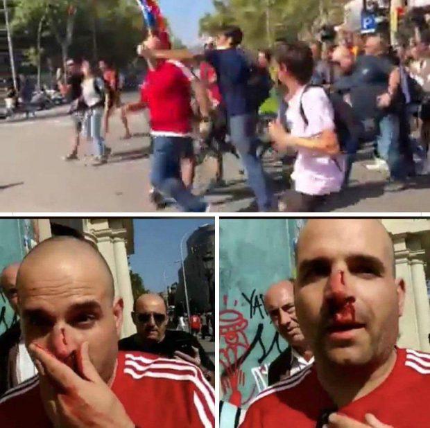 Una turba de violentos independentistas agrede a un guardia civil en Barcelona
