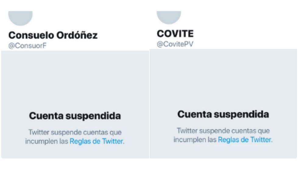 Las cuentas de Twitter de COVITE y Consuelo Ordóñez, suspendidas.