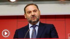 El secretario de Organización del PSOE José Luis Ábalos este lunes en Ferraz