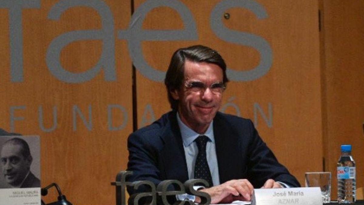 José María Aznar en el acto de esta tarde (FAES).