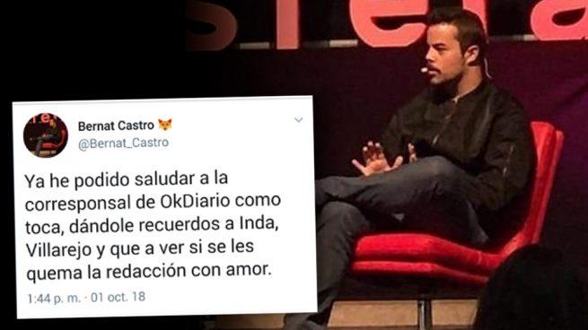 El asesor de Rufián grita a una periodista de OKDIARIO: «¡Ojalá os quemen la redacción!»