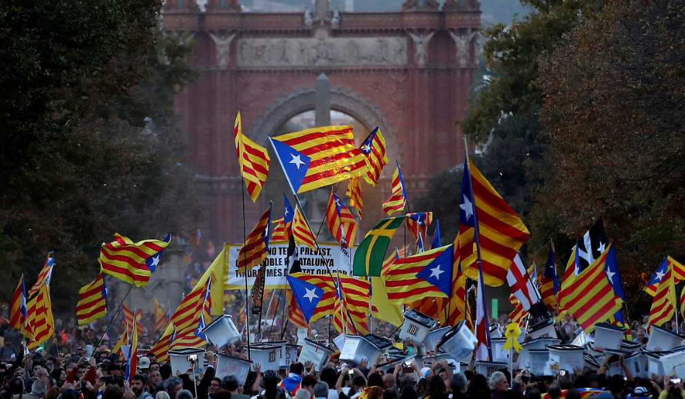 La manifestación separatista esta tarde en el parque de la Ciutadella (Barcelona)