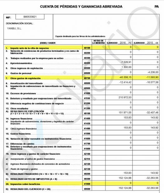 Depósito de cuentas de la sociedad Yanbu SL