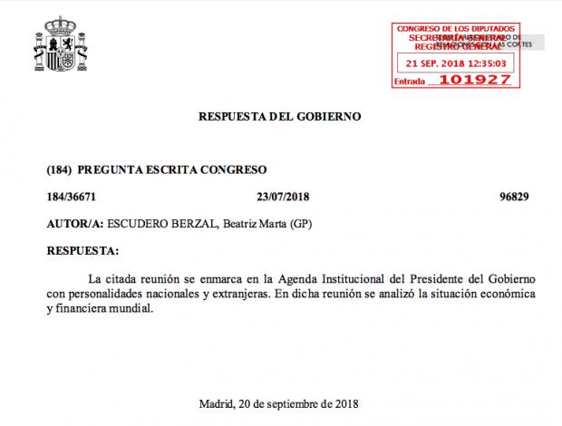 Respuesta del Gobierno a la diputada del PP Beatriz Escudero.