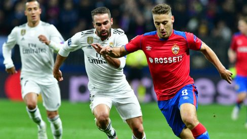 Carvajal, durante el CSKA – Real Madrid. (AFP)