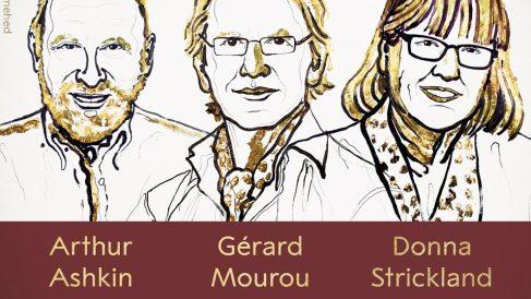 Arthur Ashkin, Gérard Mourou y Donna Strickland, ganadores del Premio Nobel de Física 2018.