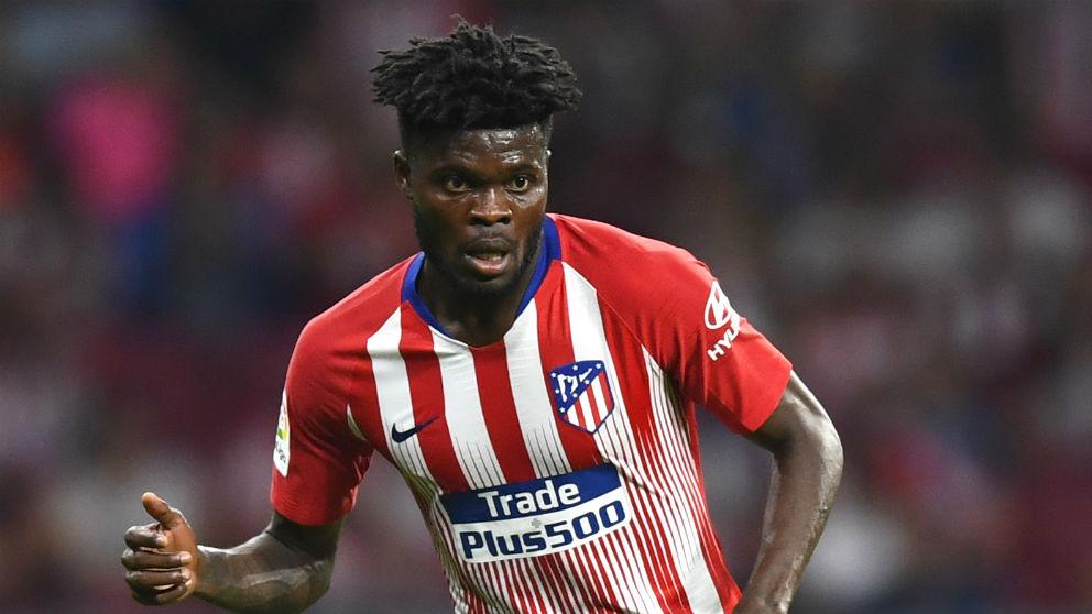 Thomas Partey, durante un partido con el Atlético. (AFP)
