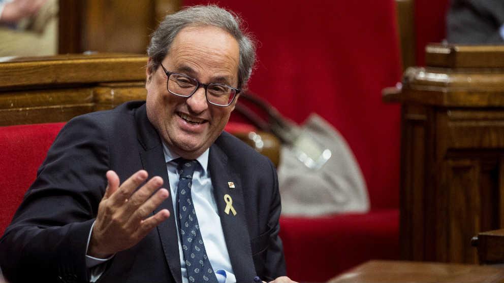 Quim Torra, presidente de la Generalitat, en el Parlament de Cataluña.