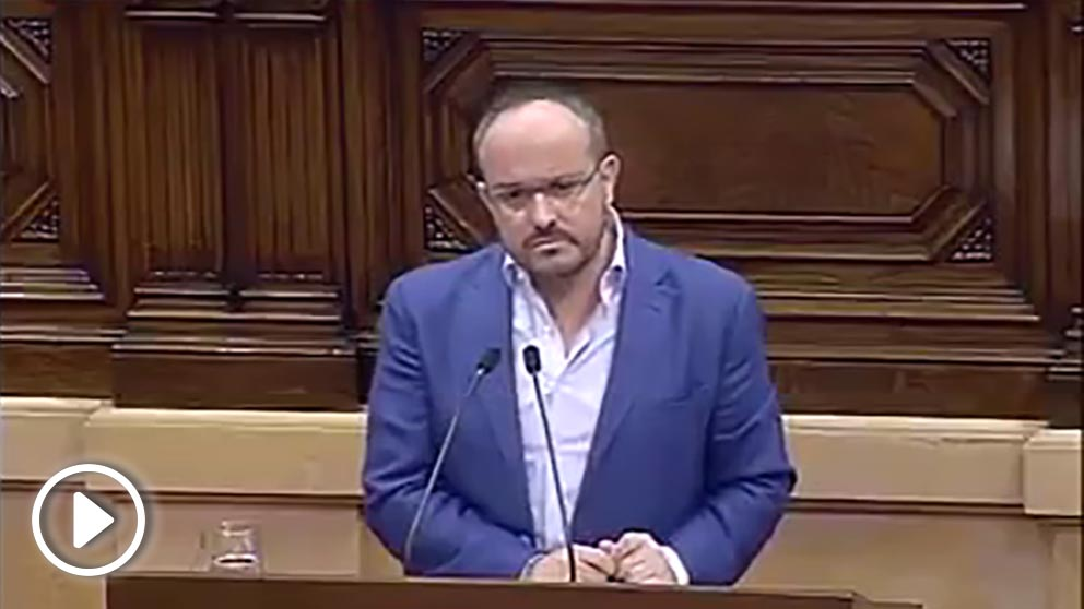 Alejandro Fernández este miércoles en el Parlament.