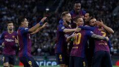 Los jugadores del Barcelona celebran el gol de Coutinho contra el Tottenham en Champions. (AFP) | Champions League 2018: Tottenham – Barcelona | Partido de fútbol hoy, en directo