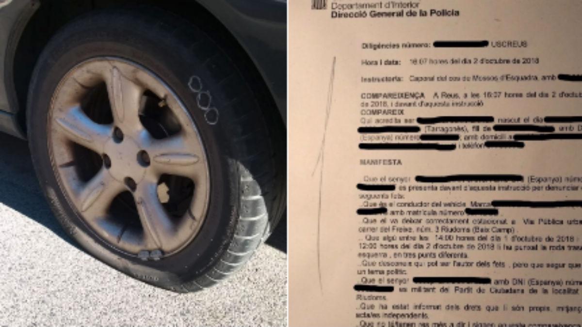 Ciudadanos denuncia el ataque al coche de uno de sus miembros (RRSS).