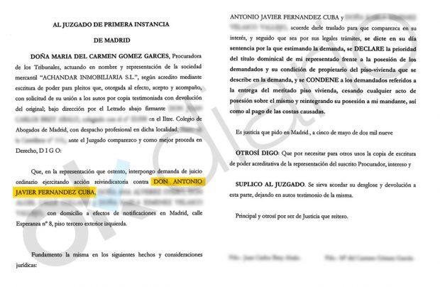 """Demanda presentada contra Javier Fernández Cuba por """"okupar"""" un inmueble en Lavapiés (Madrid)."""