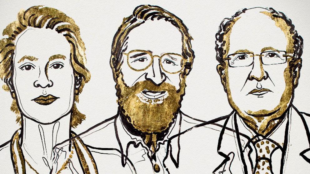 Ilustración de los premiados en el Nobel de Química 2018 publicada en la cuenta de Twitter de los Premios Nobel.
