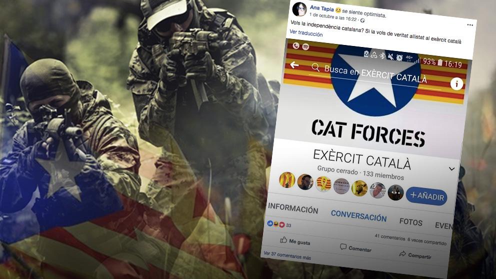 Un grupo de independentistas que ha comenzado a promover en las redes sociales la creación de un 'ejército catalán'