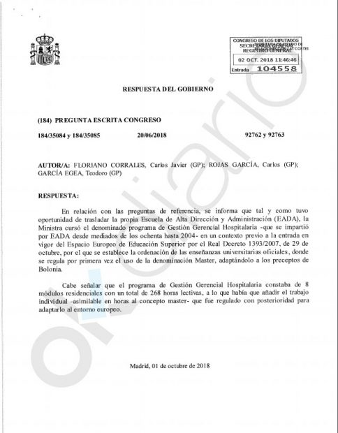 Respuesta parlamentaria del Gobierno sobre el máster 'fake' de Montero. (Fuente: OKDIARIO)
