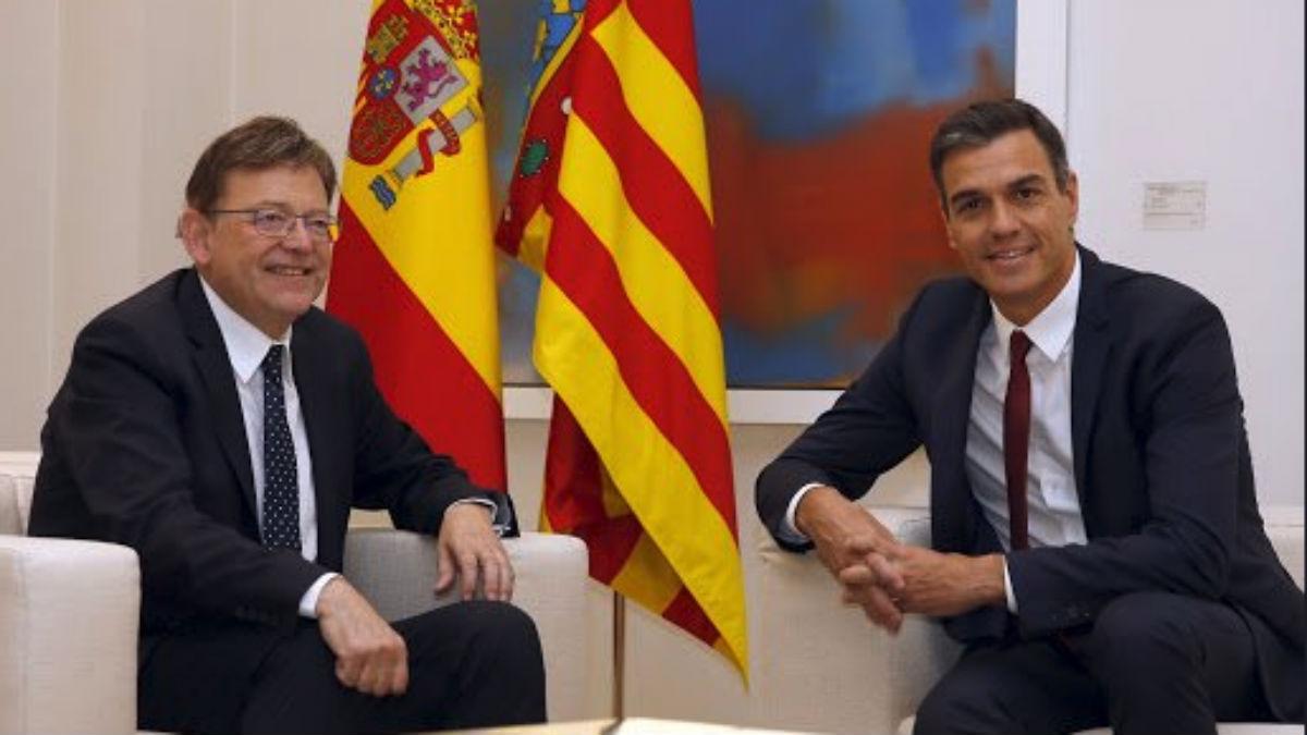 El presidente de la Comunidad Valenciana, Ximo Puig, junto al presidente del Gobierno, Pedro Sánchez.