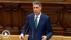 El líder del PPC, Xavier García Albiol, en el estrado del Parlament de Cataluña