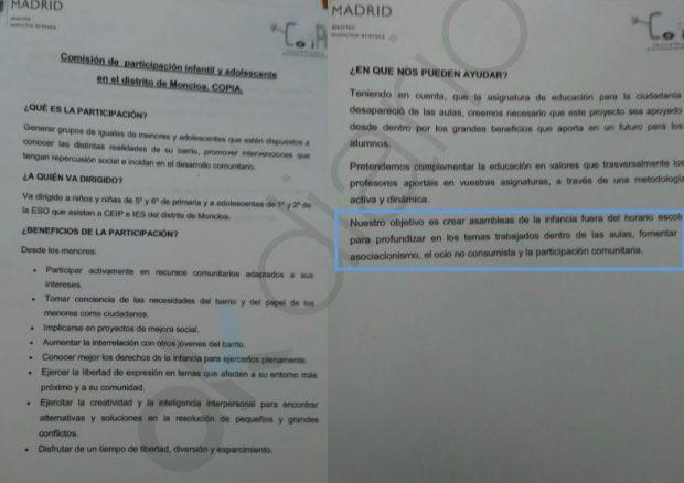 """Carmena cuida la cantera podemita: organiza asambleas infantiles sobre """"participación comunitaria"""""""