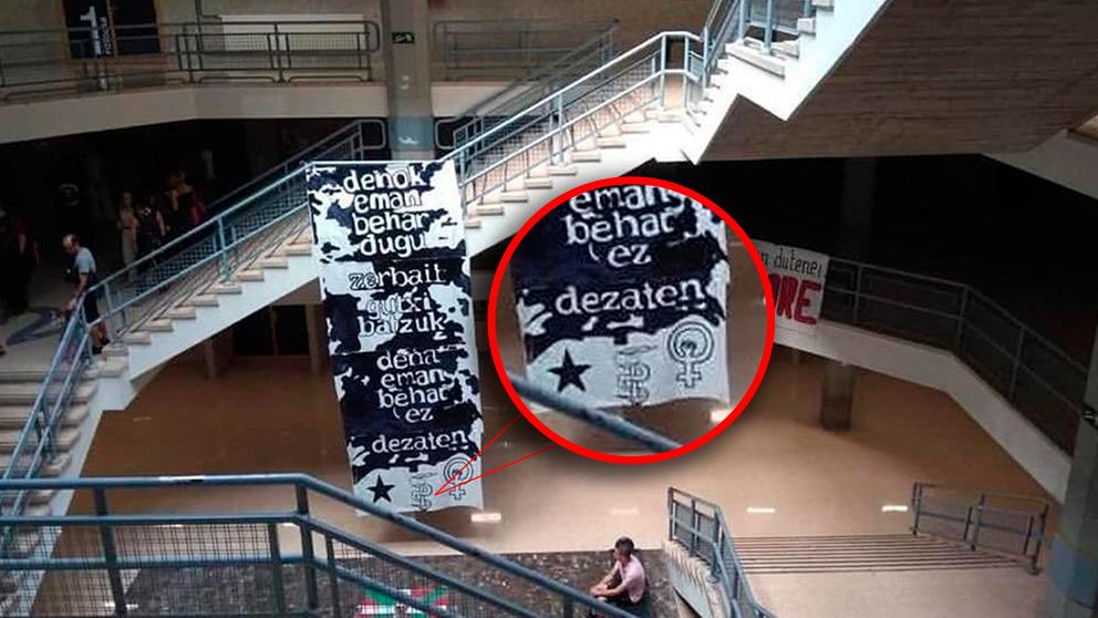 La pancarta con el anagrama de ETA que se puede observar en el campus de Leioa de la Universidad del País Vasco (UPV/EHU). Foto: Europa Press