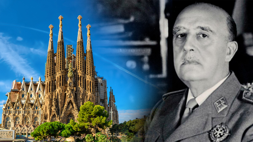 El dictador Francisco Franco y la Sagrada Familia de Barcelona