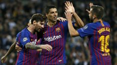 Jordi Alba Messi y Suárez celebran un gol ante el Tottenham. (AFP)
