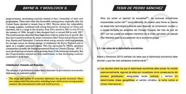 Pedro Sánchez también copió párrafos enteros de obras en inglés en 'su' tesis