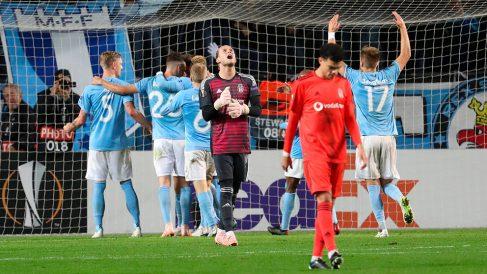 Loris Karius, tras el 2-0 del Malmo en la Europa League. (Getty)