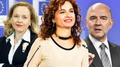 La ministra de Economía, Nadia Calviño, la ministra de Hacienda, María Jesús Montero y el comisario europeo de Asuntos Económicos, Piere Moscovici.