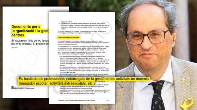 La Generalitat elimina el español de los recreos, el comedor y las actividades extraescolares