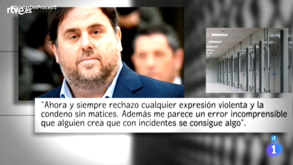 Las declaraciones de Oriol Junqueras a TVE, en un cuestionario escrito.