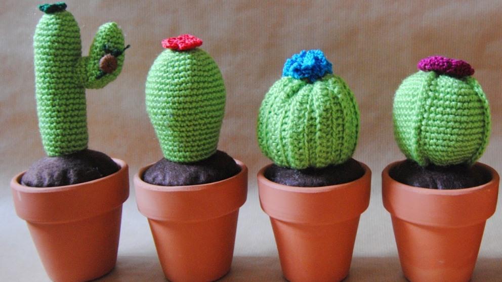 Los cactus de ganchillo son ideales para decorar o regalar