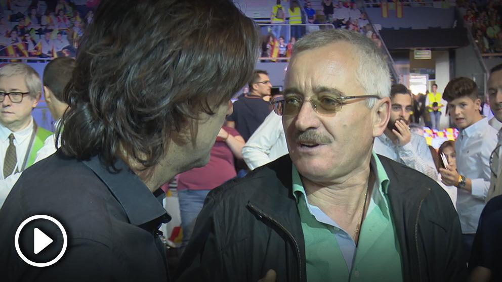 Ortega Lara habla para OKDIARIO en el acto de VOX en Vistalegre