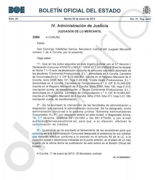 BOE de la liquidación de la productora del diputado de Podemos en Galicia