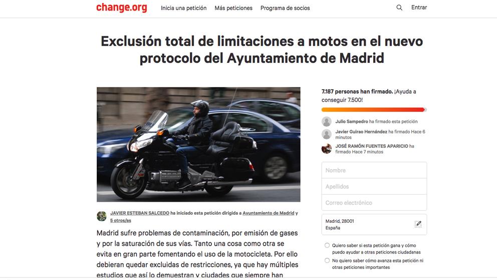 Iniciativa en 'change.org' sobre el nuevo protocolo anticontaminación de Madrid.