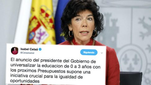 El tuit de la ministra de Eduación, Isabel Celaá, en el que comete dos errores ortográficos