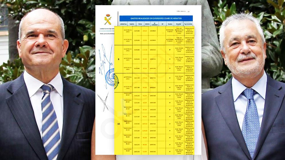 Manuel Chaves y José Antonio Griñan junto a una página del informe de la Guardia Civil